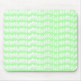 Light green and white squiggle pattern. mouse pad