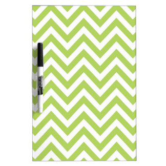 Light Green and white Striped Zigzag Pattern Dry Erase Board