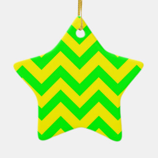 Light Green And Yellow Chevrons Christmas Ornament