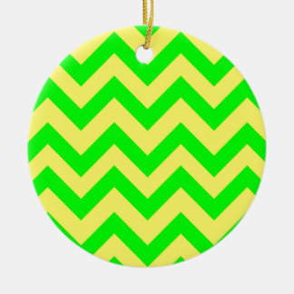 Light Green And Yellow Chevrons Round Ceramic Decoration