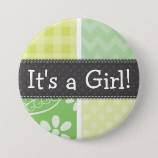 Light Green and Yellow Cute Checkered 7.5 Cm Round Badge