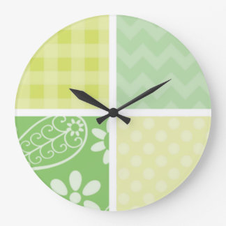 Light Green and Yellow Cute Checkered Large Clock
