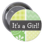 Light Green and Yellow Cute Chequered Button
