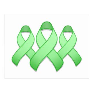 Light Green Awareness Ribbon Trio Postcard