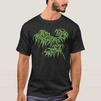 Light Green Bamboo Leaves on Black T-Shirt