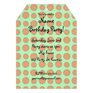 light green basketball pattern custom invitation