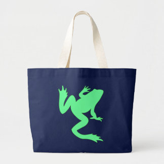 Light Green Big Frog Silhouette Jumbo Tote Bag