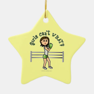 Light Green Boxer Double-Sided Star Ceramic Christmas Ornament
