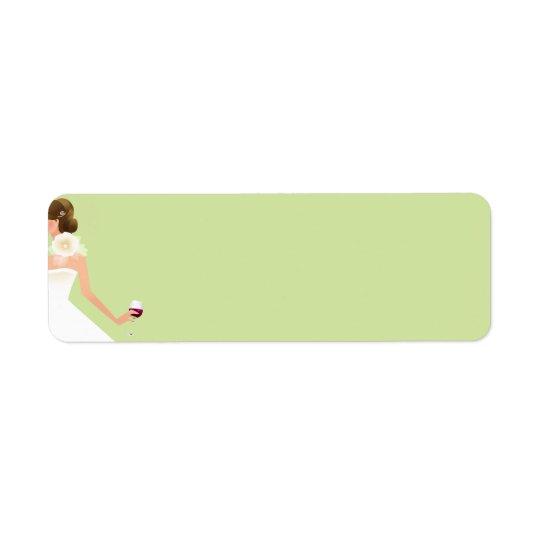Light green bridal shower wine address label