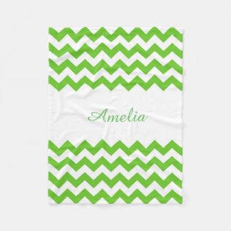 Light Green Chevron Fleece Blanket