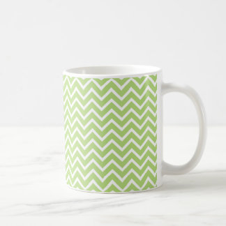 Light Green Chevron Zigzag Stripes Coffee Mug