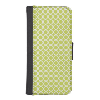 Light Green Circles Geometric Pattern iPhone 5 Wallet Cases
