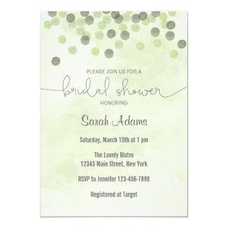 Light Green Confetti Bridal Shower Invitation
