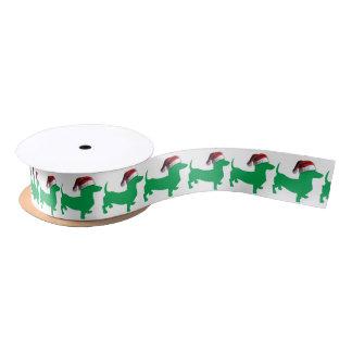 Light Green Dachshund with a Santa Claus Hat Satin Ribbon