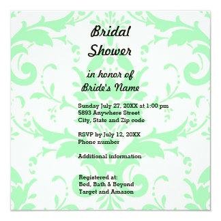 Light Green Damask Bridal Shower Invitation