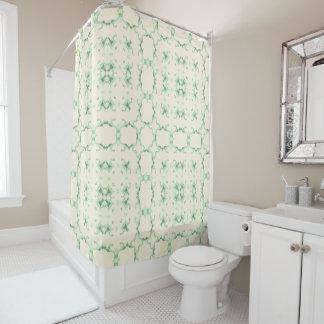 Light Green Doily Square Kaleidoscope Shower Curtain