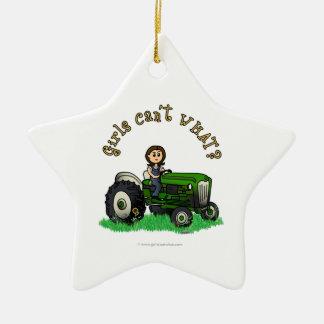 Light Green Farmer Girl Christmas Ornament