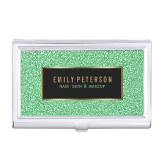 Light Green Fax Glitter With Black & Gold Accents Business Card Holder