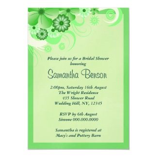 Light Green Floral Wedding Bridal Shower Invites