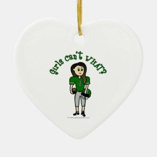 Light Green Football Christmas Ornament