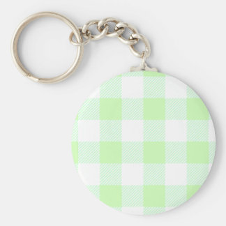 Light Green Gingham Check Pattern Basic Round Button Key Ring