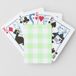 Light Green Gingham Check Pattern Bicycle Playing Cards