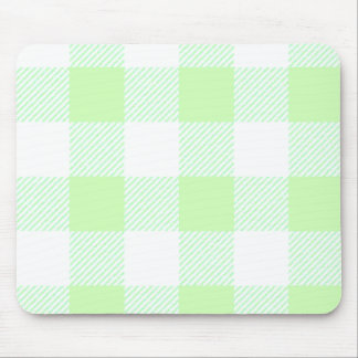 Light Green Gingham Check Pattern Mouse Mat