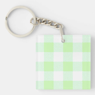 Light Green Gingham Check Pattern Single-Sided Square Acrylic Key Ring