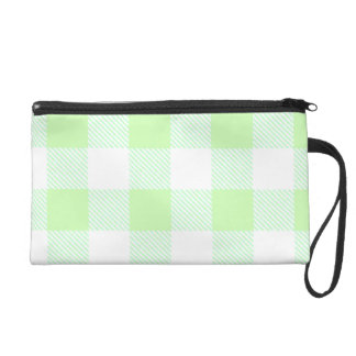 Light Green Gingham Check Pattern Wristlet