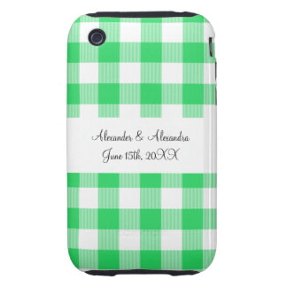 Light green gingham pattern wedding favors tough iPhone 3 cover