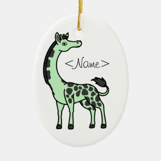 Light Green Giraffe with Black Spots Christmas Ornament