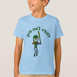 Light Green Girls Baseball T-Shirt
