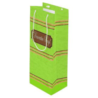 Light Green Gold Lines Wine Gift Bag