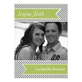 Light Green & Gray Stripes Holiday Flat Cards