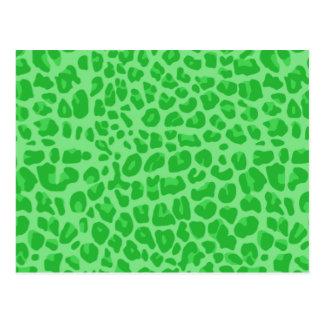 light green leopard print pattern postcard