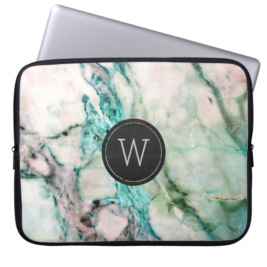 Light Green Marble Stone Texture Black Circle Laptop
