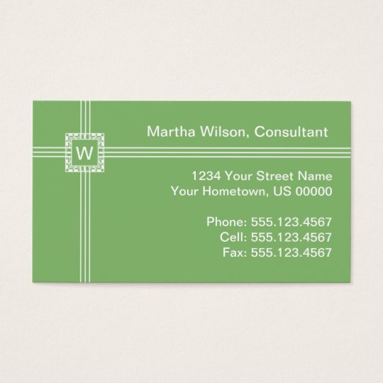 Light Green Monogram Business Card