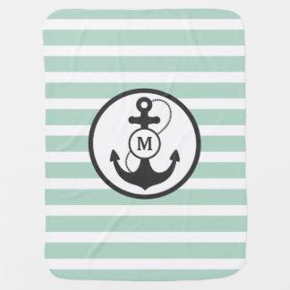 Light Green Nautical Anchor Monogram Baby Blanket