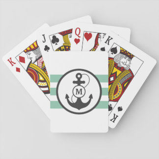 Light Green Nautical Anchor Monogram Playing Cards