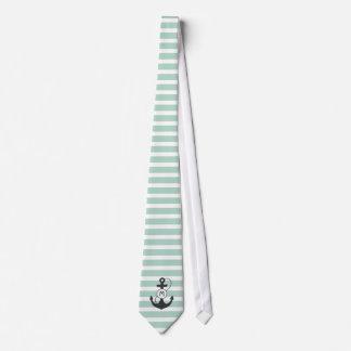 Light Green Nautical Anchor Monogram Tie