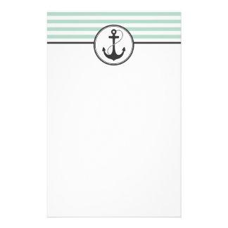 Light Green Nautical Anchor Stationery