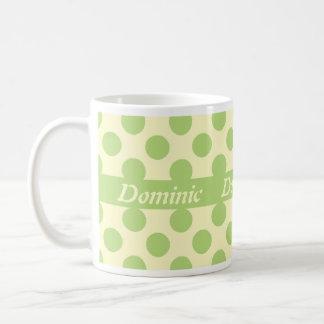 Light Green Polka Dots Personalized Mugs