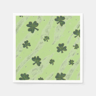 Light green shamrock pattern cocktail paper napkin