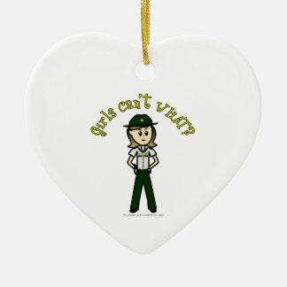 Light Green Sheriff Girl Ceramic Heart Decoration