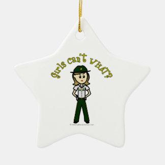 Light Green Sheriff Girl Ceramic Star Decoration