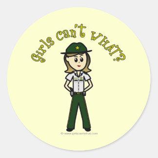 Light Green Sheriff Girl Round Stickers