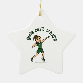 Light Green Shot Put Double-Sided Star Ceramic Christmas Ornament