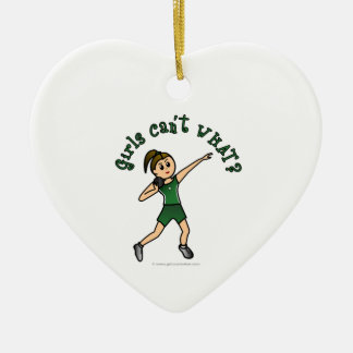 Light Green Shot Put Double-Sided Heart Ceramic Christmas Ornament