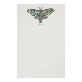 Light Green Spanish Moon Moth Realistic Painting Stationery