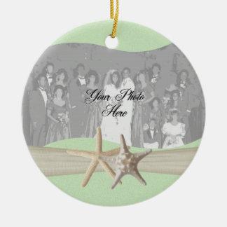 Light Green Starfish Photo Christmas Ornament